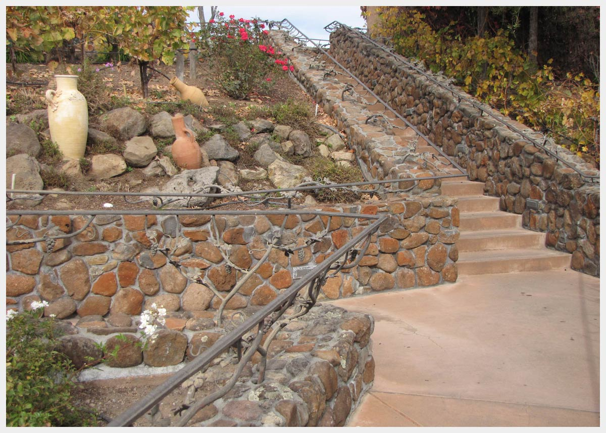 Shannon Masonry Construction - Commercial Masonry Contractor - Stone Stairs / Retaining Wall Construction Project - Healdsburg CA